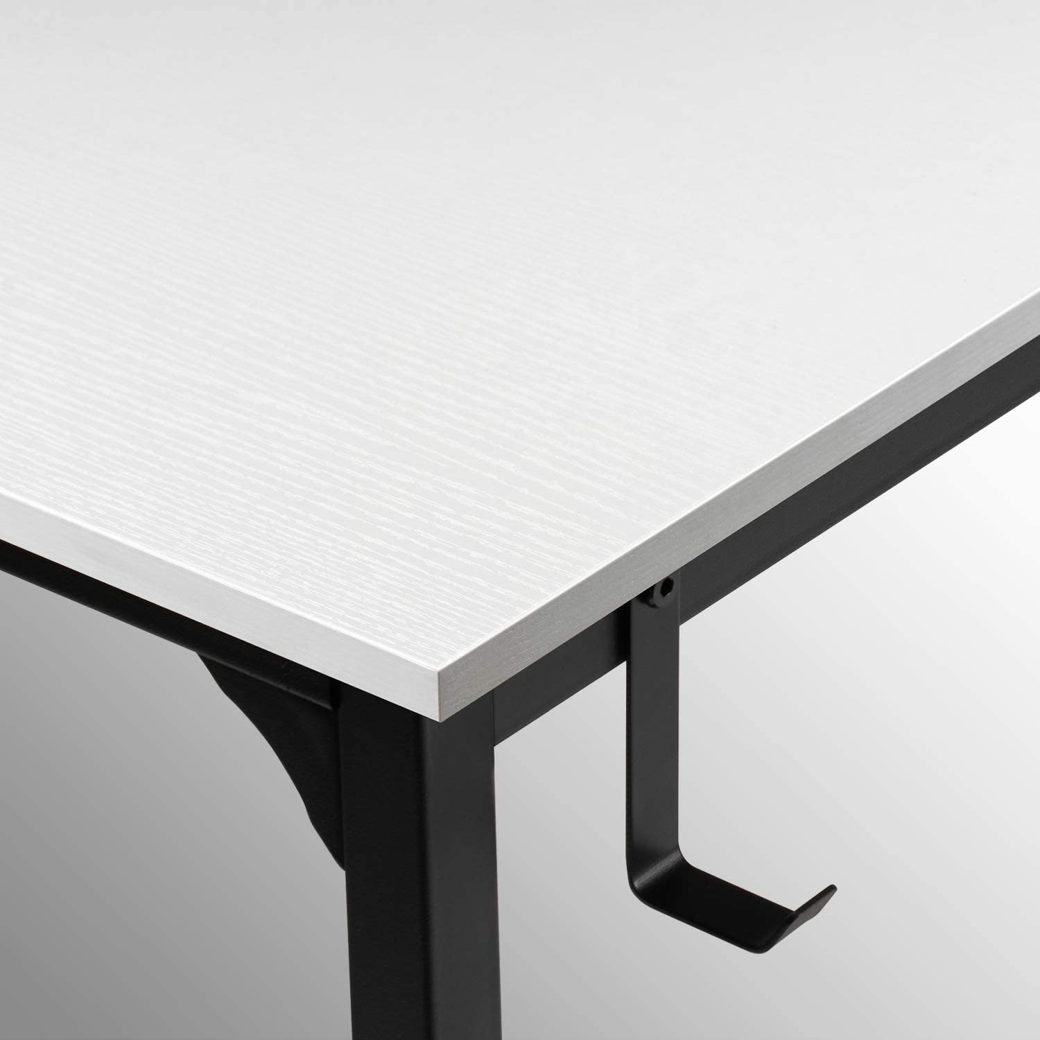 Modern Simple Style PC Desk CubiCubi Computer Desk 40 Study Writing Table for Home Office Black Metal Frame White