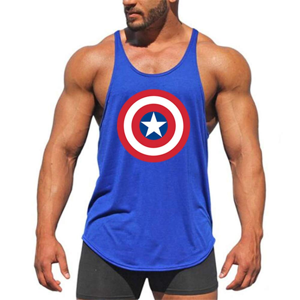 MENSEWA ZENDA Mens Tank Tops Workout Shirts Bodybuilding Stringer Tank Top Sleeveless Fitness Vest (Blue, M)