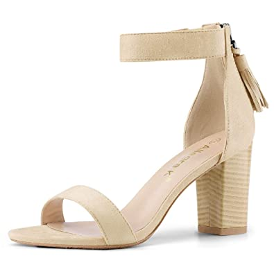 a0c42c46124134 Allegra K Women s Open Toe Tassel Block Heel Ankle Strap Beige Sandals -  4.5 M US