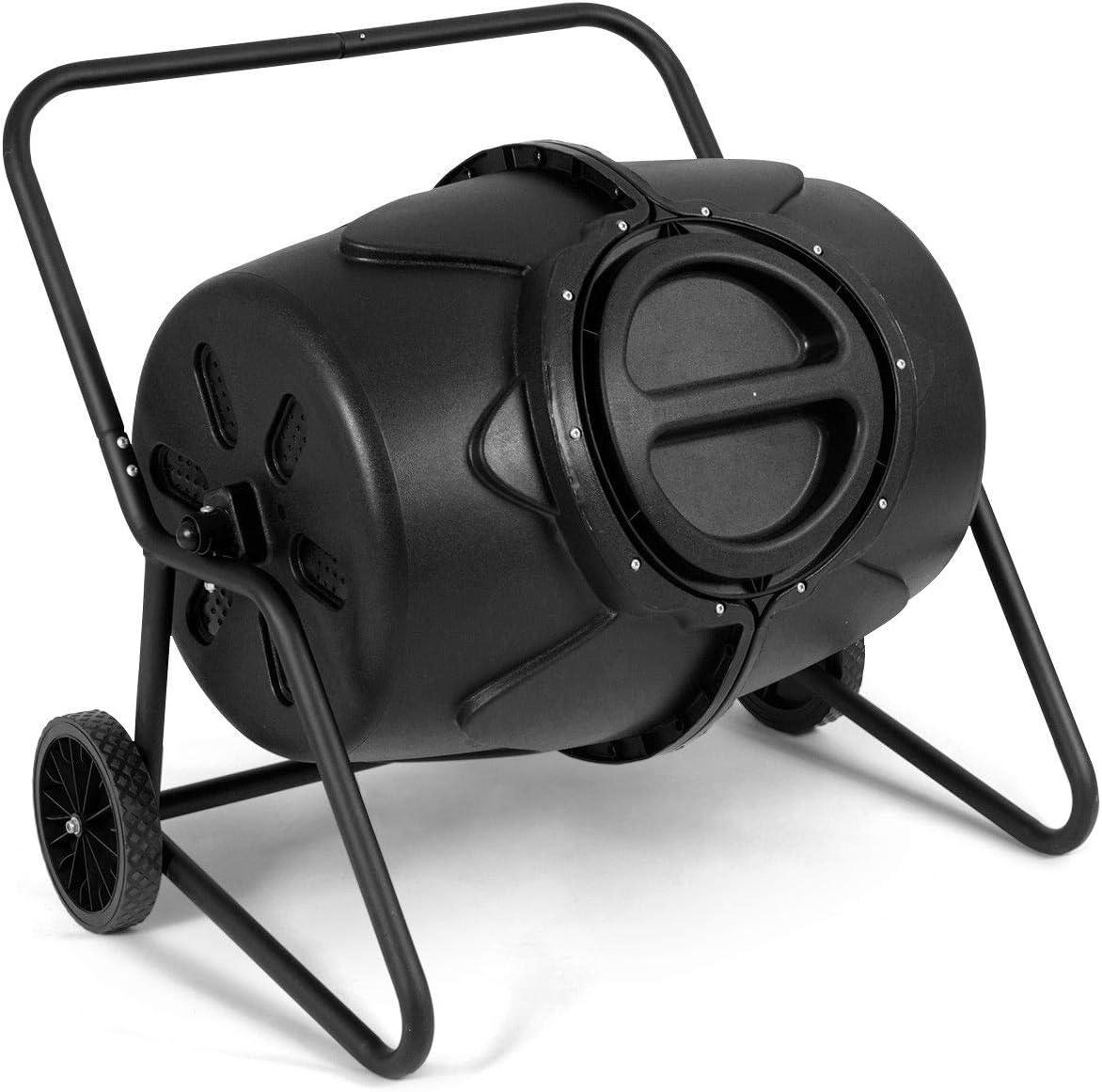 JF World 50 Gallon Wheeled Compost Tumbler Garden Waste Bin