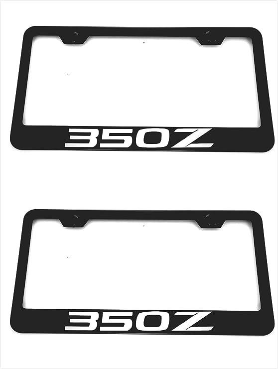 2 Estodia Black Stainless Steel License Plate Frame Cover Holder Metal with Screws Caps for Mazda 3