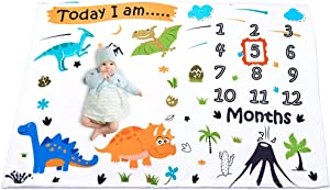WERNNSAI Dinosaur Baby Monthly Milestone Blanket - Soft Flannel Nursery Bed Blankets for Boys Newborn Blankets, Photography Backdrop with Props