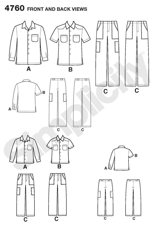 Simplicity 4760 A - Patrones de costura para camisas y pantalones de niño y hombre: Amazon.es: Hogar