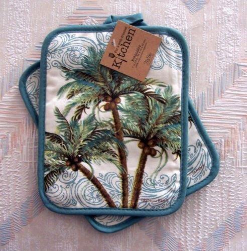 The Pecan Man Palm Trees Pot Holder Set of 2 Key West Design