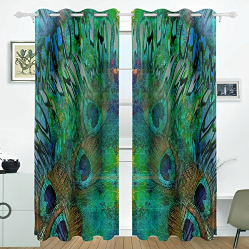 ALIREA Abstract Peacock Blue Background Blackout Curtains Darkening Thermal Insulated Polyester Grommet Top Blind Curtain for Bedroom, Living Room,2 Panel (55W x 84L Inch)
