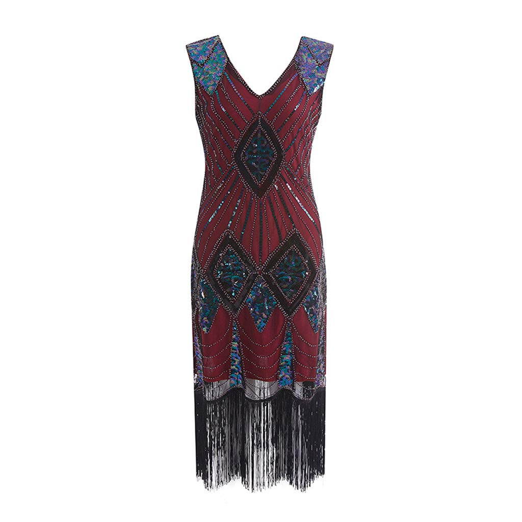Masquerade Dresses for Women 1920s Vintage Flapper Fringe Beaded Great Gatsby Party Dress (Red,S)
