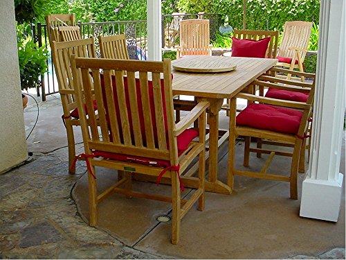 Anderson Teak Set-112B - Dupione Paradise Rectangular Extension Table & Wilshire Armchair Set, 8', Dupione Paradise