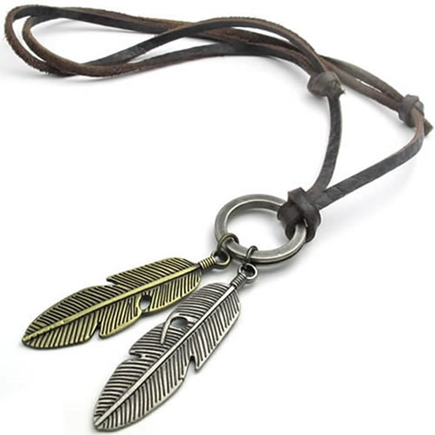 Konov vintage angel feather pendant leather cord mens necklace konov vintage angel feather pendant leather cord mens necklace chain gold silver brown amazon mozeypictures