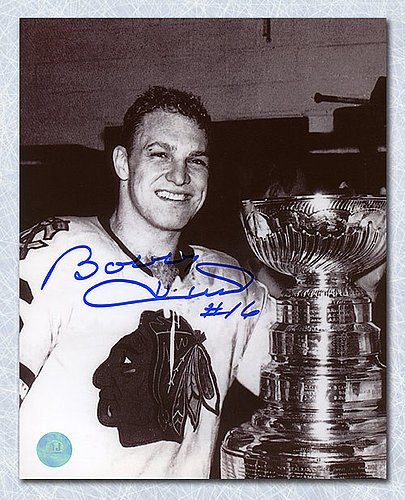 Bobby Hull Chicago Blackhawks Autographed 1961 Stanley Cup 8x10 Photo - Signed Hockey Pictures ()