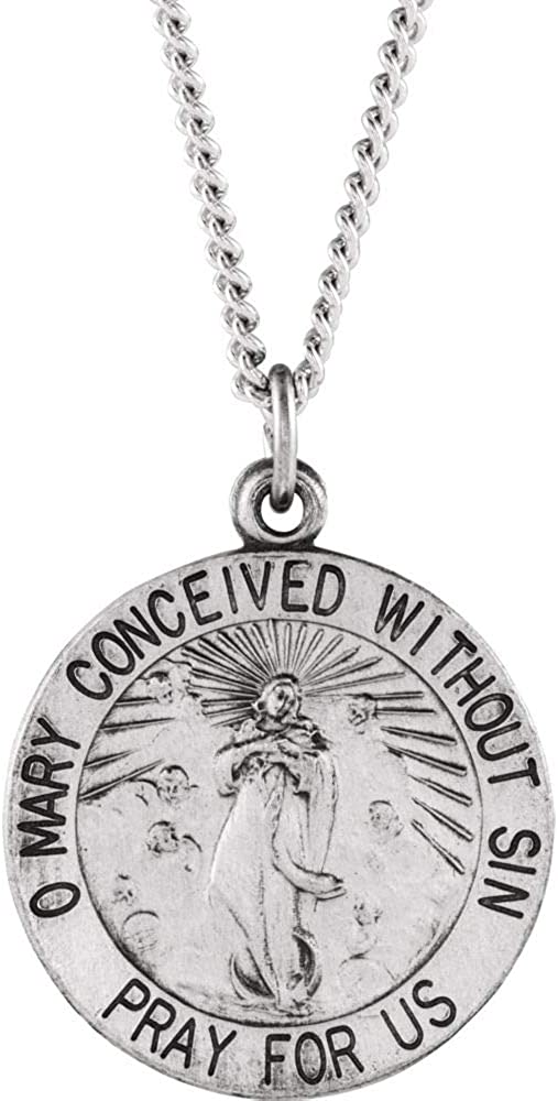 Jewels By Lux 925 Sterling Silver 18mm Round Immaculate Conception Medal 18 Necklace