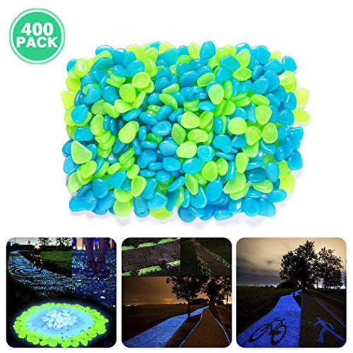 Glow in the Dark Pebbles , Besiva 400pcs Outside Bulk Glow Stones Rocks for Outdoor Fairy Garden, Walkways, Driveway, Path, Fish Tank Aquarium DIY Decorations Gravel -
