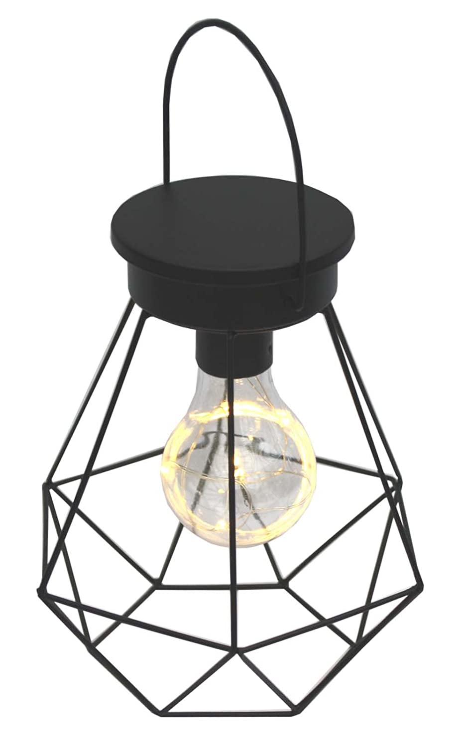 Retro Hanging or Table Top Black Wire Lamp with LED Bulb - Battery Operated marymarygardens