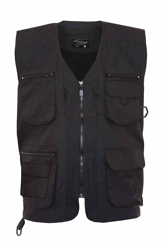 Mens Summer Waistcoat With Multi Pockets Outside Gilets (Medium, Black)