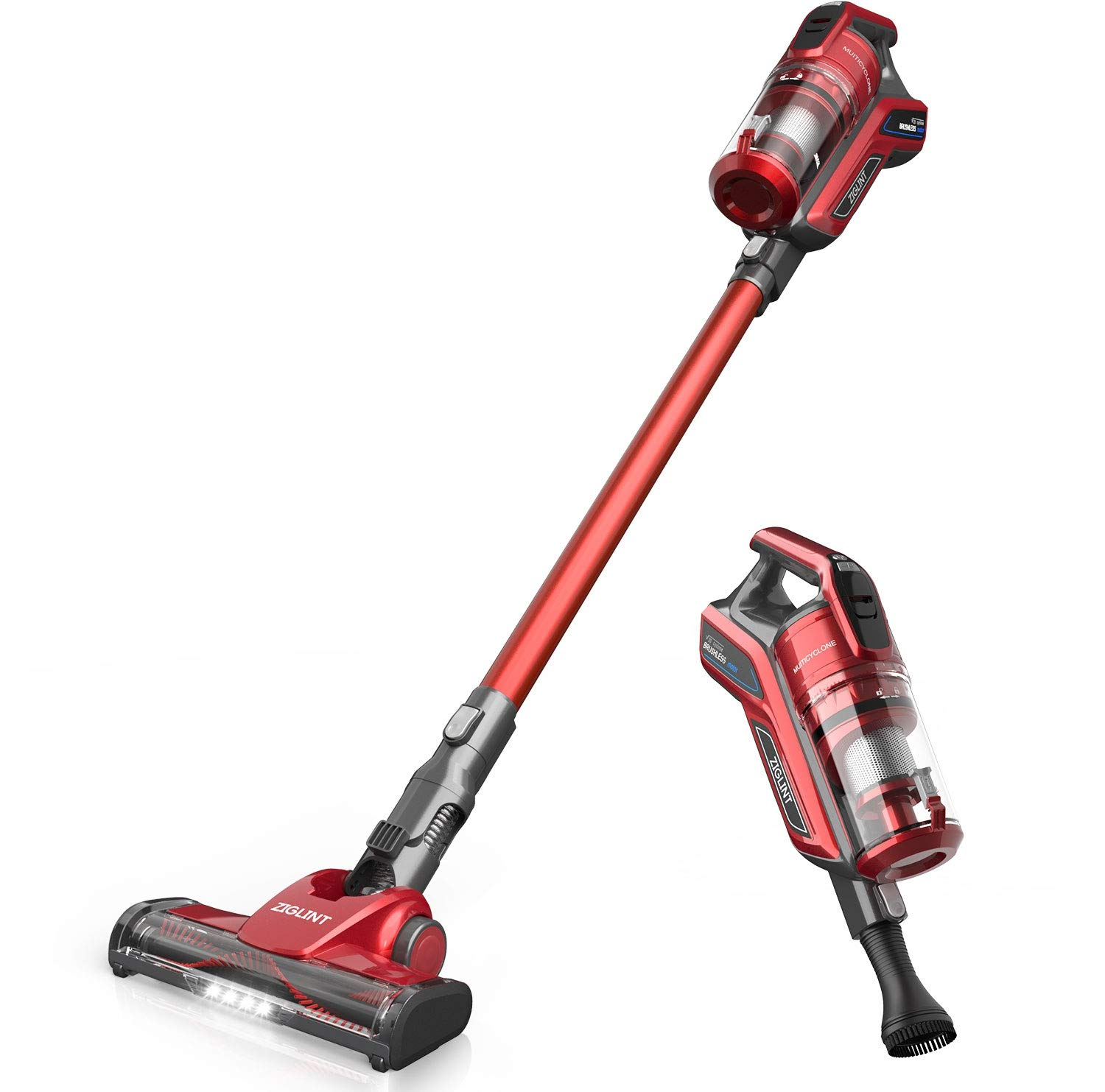 ZIGLINT Z8 Cordless Vacuum Cleaner, Stick and Handheld Vacuum Handheld Lightweight Intelligent with 20KPa High Suction, LED Power Brushes, 5 Head Tool Accessories Included 2 Year Warranty