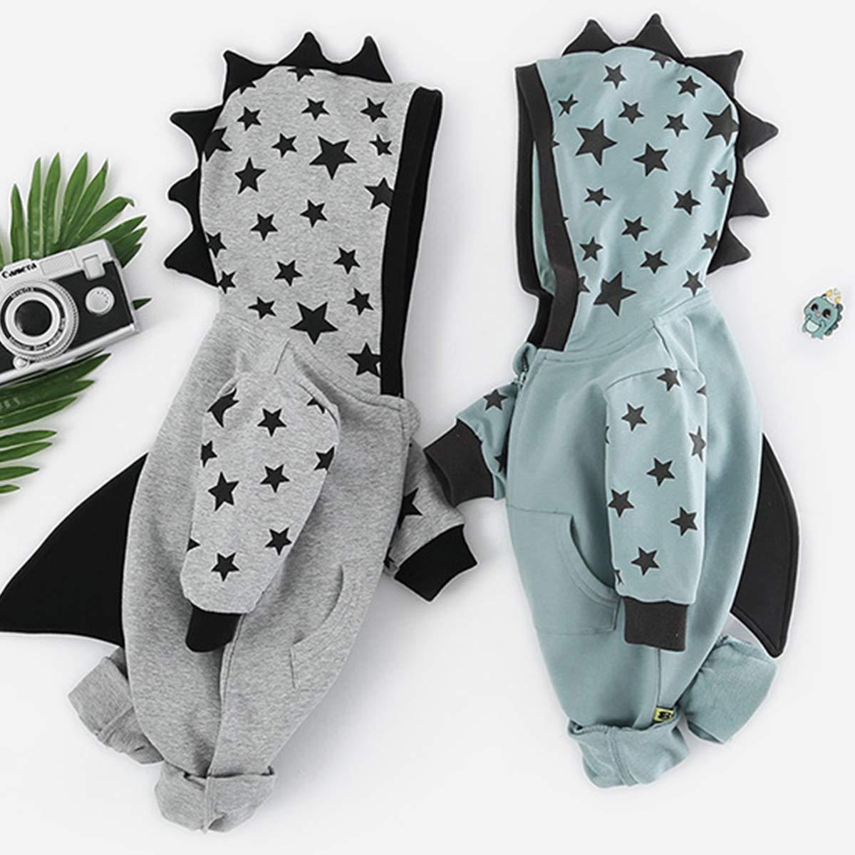 JUNMAONO Baby Strampler mit Kapuze Karikatur Dinosaurier Modellierung Langarm-Kapuzenshirt,Junge M/ädchen Onesies Bodyoverall mit Druckknopf,Unisex Schlafstrampler Schlafanzug Spielanzug Overall