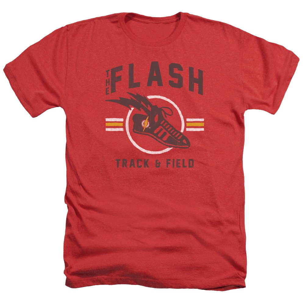 Justice League Track And Field Adult Heather Red Shirts