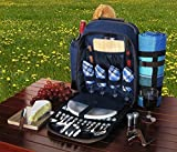 Picnic Pack Backpack for 4 Plaid Blue with Blanket by Picnic Pack USA