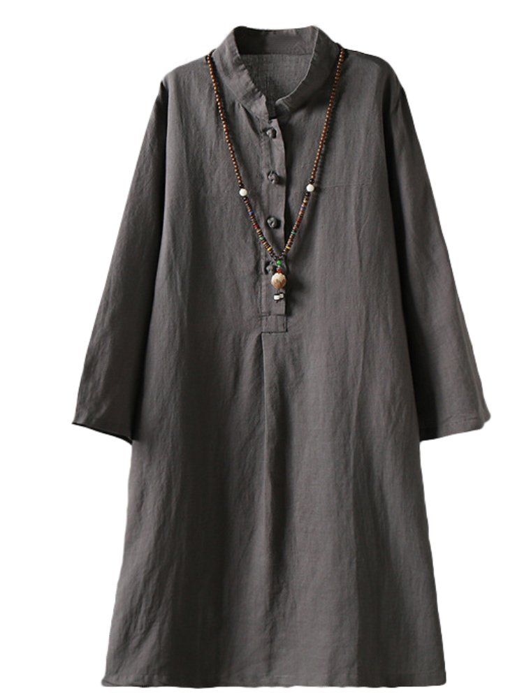 Minibee Women's Linen Retro Frog Button Blouse Loose Tunic Dress With Pockets Gray XL