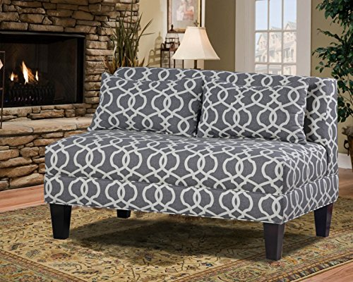 Carolina Accents Briley Armless Loveseat, Emery Pewter - Espresso Armless Loveseat