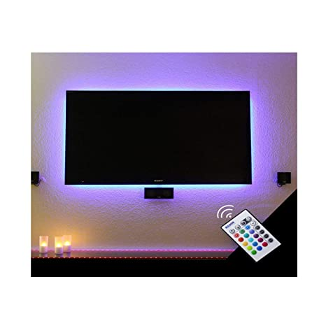 Bason Usb Led Tv Bias Lighting Backlight Strip For 30 To 40 Inch Flat Hdtv 20 Color Options Sync Switch Onoff With Tv Dimmable Remote Control