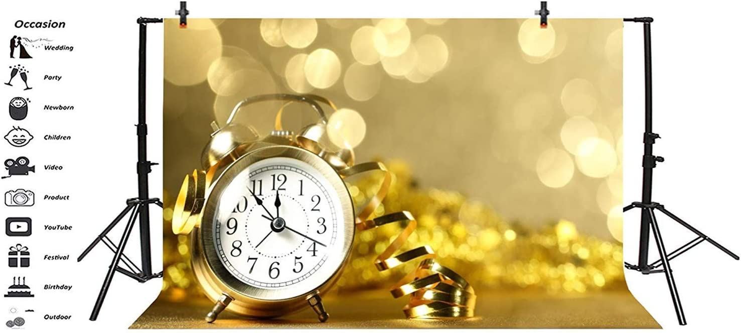 Happy New Year 2019 Backdrop Polyester 8x6.5 Golden Alarm Clock Countdown Confetti Dazzling Bokeh Haloes Photography Background New Years Eve Party Banner Child Baby Adult Portrait Shoot Poster