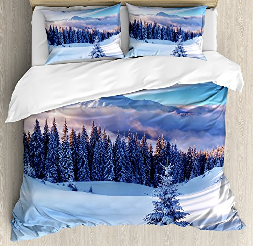 Ambesonne Winter Decorations Duvet Cover Set, Surreal Winter Scenery with High Mountain Peaks and Snowy Pine Trees, 3 Piece Bedding Set with Pillow Shams, Queen/Full, Blue White