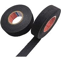Liuer Set van 2 zwarte isolatietape, autokabelbomen, textieltape, BPE-vlies, voor kabelbomen, katoen, plakband (19 mm x…
