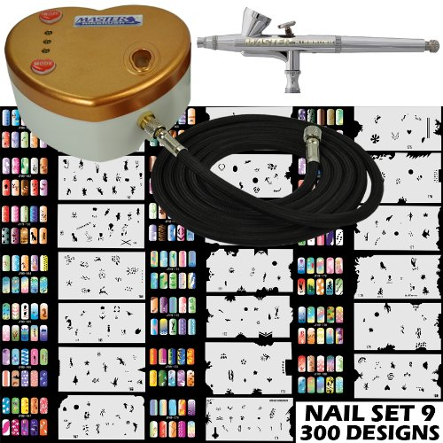 Master Airbrush Model G34 Airbrushing System with Model C14G Gold Heart (Nail Master Stencil)
