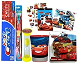 Disney Pixar Cars All Inclusive Bathroom Collection! Toothbrush, Toothpaste, Brushing Timer, Rinse Cup, Night Light, Reward Stickers & Tattoos! Plus Dental Gift Bag & Tooth Saver Necklace!