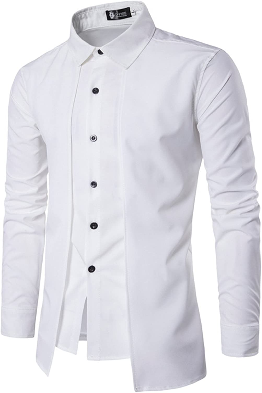 LOKOUO MenS Shirts NEW Long-Sleeved Casual Fake Two Pieces Solid Arrival MenS Shirts XXL