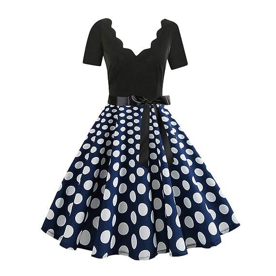 Ginli Vestito Donna Elegante Donna Senza Maniche Stampa Moda Vestiti  Vintage Flare Abito Vestito Donna Manica Lunga da Cerimonia Audrey Hepburn  Abito  ... 39334b54e51