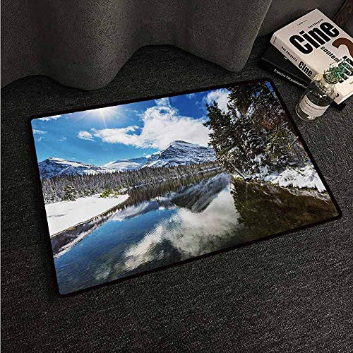 HCCJLCKS Interior Door mat Winter Tranquil View of Glacier National Park in Montana Water Reflection Peaceful Super Absorbent mud W24 xL35 Brown Blue White