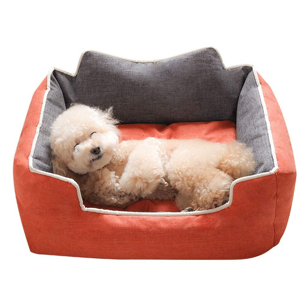 45×35×22cm Square orange Pet Nest, Home golden Hair Small Medium Large Cat Dog Bed, Four Seasons at Home Pet Non-Slip Mat (Size   45×35×22cm)