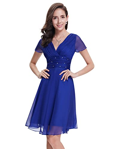 Ever Pretty Womens Short Sleeve V-Neck Ruched Bust Chiffon Party Dress 03882
