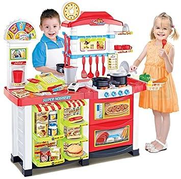 cocina de juguete con cocina moderna con la luz el sonido hervidor