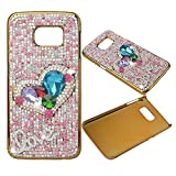 KAKA(TM) Fashion Style Love Pearl Pattern 3D Handmade Rhinestone Crystal Pearl Heart-Shape and Colorful Pearl Cover Case for Samsung Galaxy S6