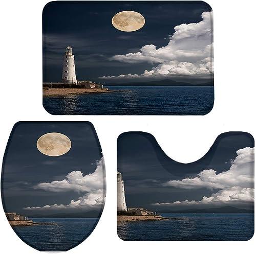 Queenker 3 Pieces Bath Rug Set Toilet Seat Cover Moon Lighthouse Print Contour Rug