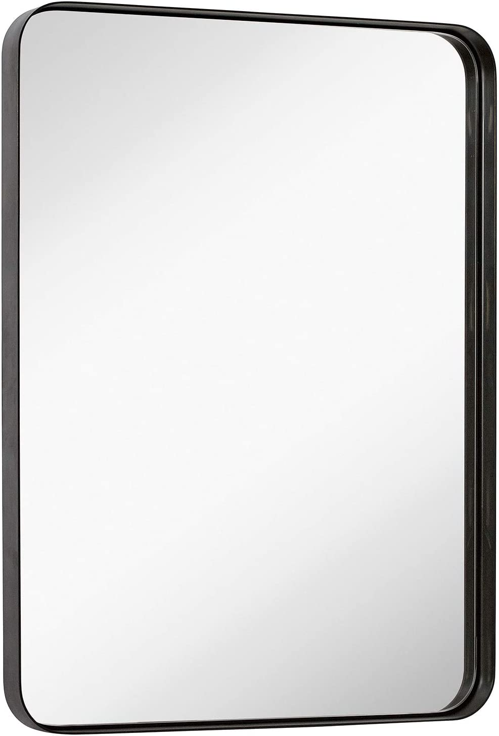 Hamilton Hills Contemporary Brushed Metal Wall Mirror | Glass Panel Bronze Framed Rounded Corner Deep Set Design | Mirrored Rectangle Hangs Horizontal or Vertical (22
