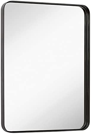 Hamilton Hills Contemporary Brushed Metal Wall Mirror Glass Panel Bronze Framed Rounded Corner Deep Set Design Mirrored Rectangle Hangs Horizontal