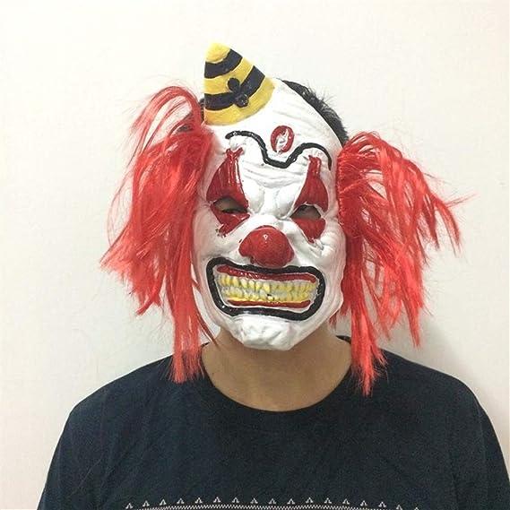Fhxr Máscara De Payaso con Peluca, Accesorios De Payaso De Látex Divertidos De Halloween Mueca Máscara De Bola De Disfraces De Miedo (Color : Red) : Amazon.es: Juguetes y juegos