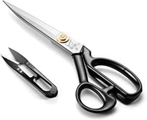 Sewing Scissors 9 Inch, Fabric Dressmaker Scissors Heavy Duty Shears for Tailors Dressmaking, Professional for Upholstery Office Crafting-Cutting Fabric Leather Paper(Stainless Steel, Right-Handed)