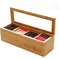 Tea Box Storage Organizer Made of Natural Bamboo …