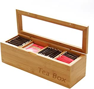 Tea Box Storage Organiser, Made of Bamboo (4 Compartments)
