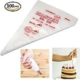 SelfTek 100Pcs Disposable Pastry Bags Icing Piping Baking Decoration Tools