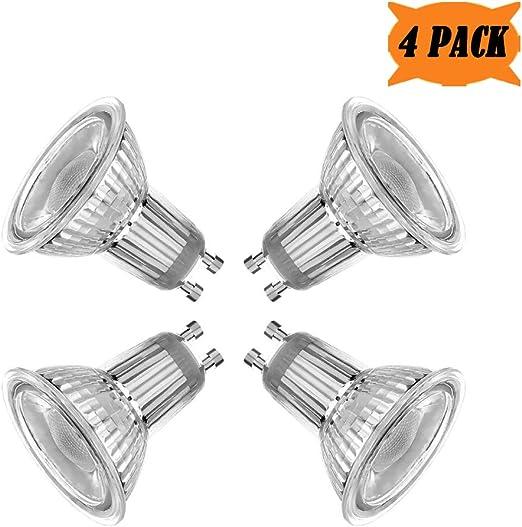 4 Pack MD Lighting GU10 5W Triac Dimmable LED Cob Light Bulbs Glass - 400 Lumen 50W Halogen Bulb Equivalent Daylight White 6000K 40 Degree Beam Angle Track Light Spotlight Bulb AC 110V