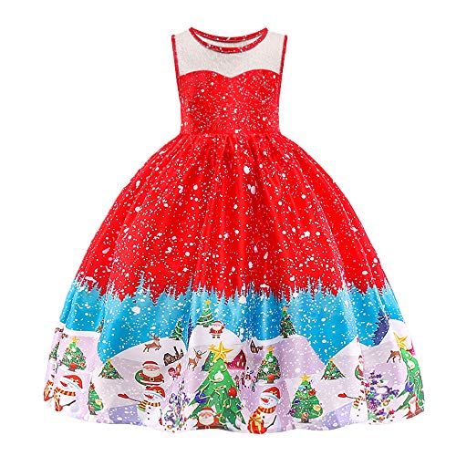 HUANQIUE Girls Dress Christmas Eve Xmas Snow Holiday Party Dresses Red 5-6 T