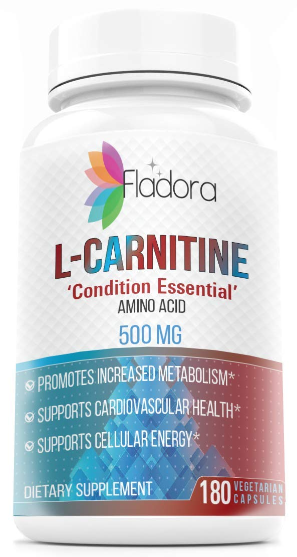 Fladora LCarnitine Amino Acid 500mg - Promotes Increased Metabolism, Supports Heart Health, Gluten-Free, Non-GMO - 180 Vegetarian Capsules