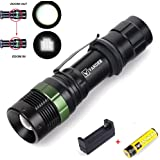 Vander T6 LED Zoomable Handheld Flashlight 3 Modes with 18650 Charger and 1x Rechargeable Battery,Adjustable Focus Torch for Camping, Running, Hiking, Riding,Reading BBQ&Indoor Activities