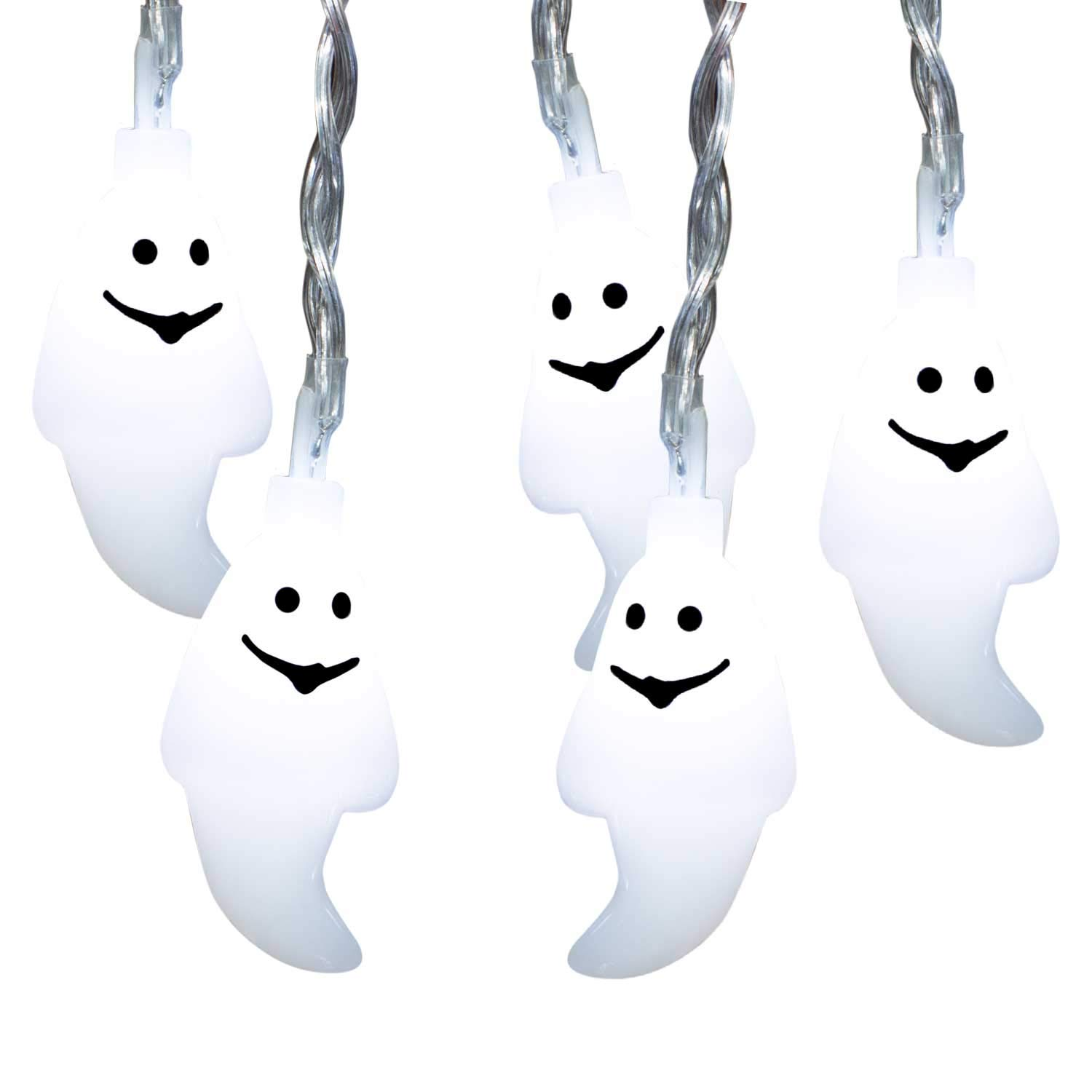 Brightown 20ct Halloween White Ghost String Lights, Battery Operated 20pcs LEDs Halloween Holiday Decoration