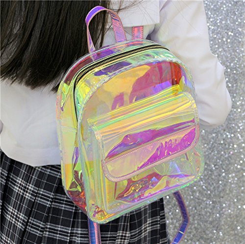 Backpack Color Bag Shoulder Bag Travel YSMYWM School Holographic Daypack Laser Women Satchel Candy Backpack Transparent UB74zH